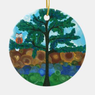 Hoolandia (c) 2013 - el búho escoge adorno navideño redondo de cerámica
