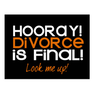 ¡HOORAY! Tarjetas de la invitación del divorcio Postal
