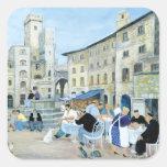 Hora de comer en una plaza del mercado Toscana Pegatina Cuadrada
