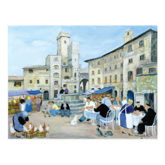 Hora de comer en una plaza del mercado Toscana Postal