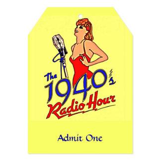 hora de radio de los años 40 invitación 12,7 x 17,8 cm