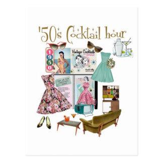 hora del cóctel de los años 50 postal