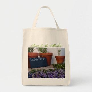 Hora para el mercado - tote orgánico del bolsa tela para la compra