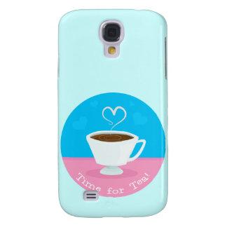 Hora para la taza de té del corazón del té funda para galaxy s4