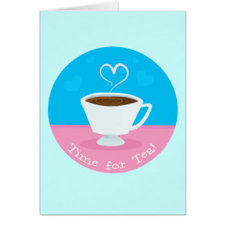 Hora para la taza de té del corazón del té tarjeta pequeña