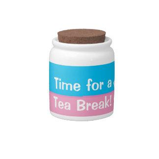 Hora para un tarro de la taza de té de la rotura d platos para caramelos
