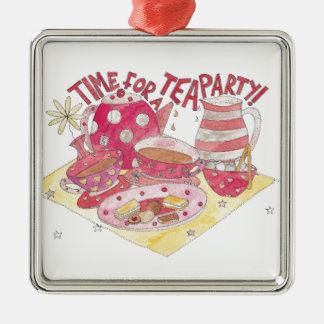 Hora para una fiesta del té adorno cuadrado plateado