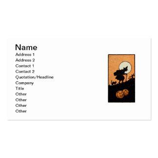 Hora Witching (tarjeta de Halloween del vintage) Plantilla De Tarjeta De Negocio