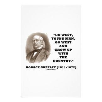 Horacio Greeley va el hombre joven del oeste va al Papeleria De Diseño