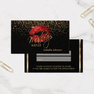 Horario de cita rojo de los labios del brillo tarjeta de visita