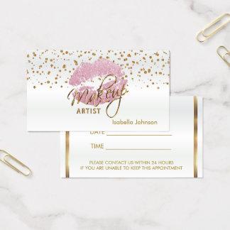 Horario de cita rosado de los labios del brillo 2 tarjeta de visita