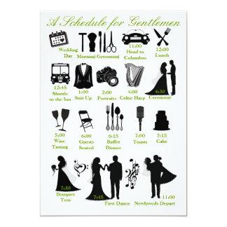 Horario de Itenerary del boda para los padrinos de Invitación 12,7 X 17,8 Cm