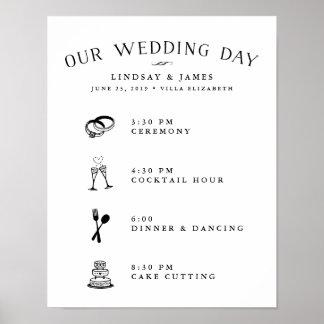 Horario ilustrado del día de boda póster