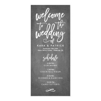 Horario y programa indicados con letras del boda
