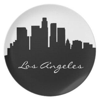 Horizonte blanco y negro de Los Ángeles Plato Para Fiesta