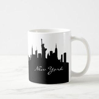 Horizonte blanco y negro de Nueva York Taza De Café