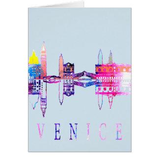 Horizonte colorido de Venecia Tarjeta