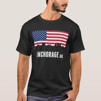Horizonte de Anchorage de la bandera americana Camiseta