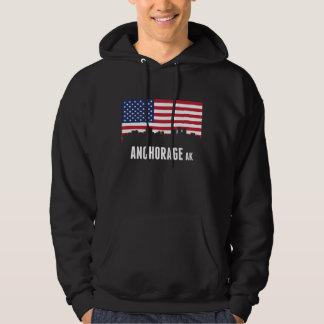 Horizonte de Anchorage de la bandera americana Sudadera