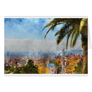 Horizonte de Barcelona España Tarjeta De Felicitación