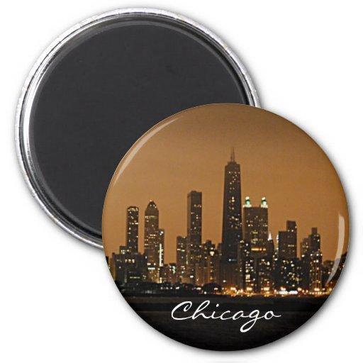 Horizonte de Chicago en la noche en el centro de J Iman De Frigorífico
