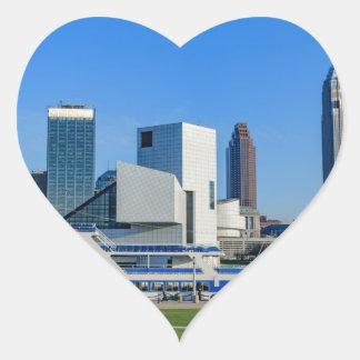 Horizonte de Cleveland Pegatina En Forma De Corazón