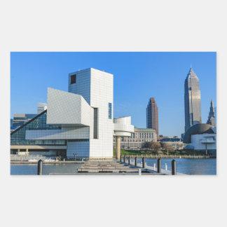 Horizonte de Cleveland Pegatina Rectangular