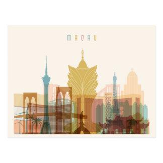 Horizonte de la ciudad de Macao, China el   Postal