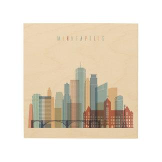 Horizonte de la ciudad de Minneapolis, Minnesota Impresión En Madera