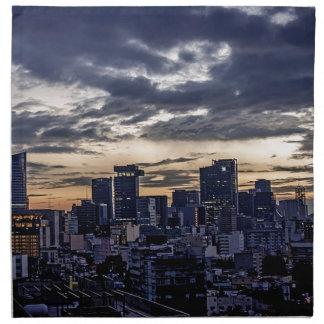 Horizonte de la noche de Ciudad de México Servilleta De Tela