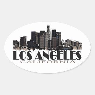 Horizonte de la oscuridad de Los Ángeles Pegatina Ovalada