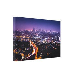Horizonte de Los Ángeles, California en la noche Impresión En Lona