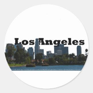 Horizonte de Los Ángeles con Los Ángeles en el Pegatina Redonda