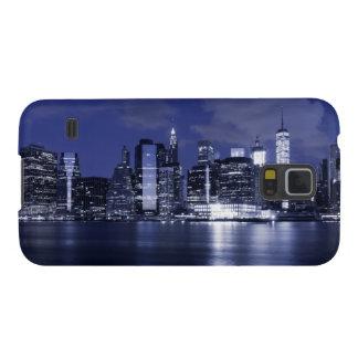 Horizonte de Nueva York bañado en azul Funda Para Galaxy S5