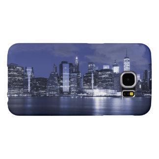 Horizonte de Nueva York bañado en azul Funda Samsung Galaxy S6