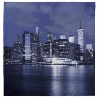 Horizonte de Nueva York bañado en azul Servilleta De Tela