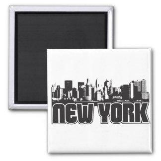 Horizonte de Nueva York Imán Cuadrado