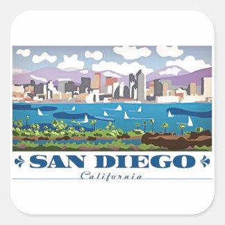 Horizonte de San Diego Pegatina Cuadrada