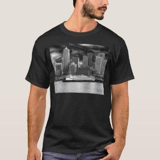 horizonte de Seattle blanco y negro Camiseta