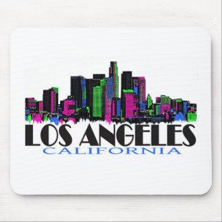 Horizonte del neón de Los Ángeles California Alfombrilla De Ratón