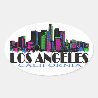 Horizonte del neón de Los Ángeles California Calcomanías De Óvales Personalizadas