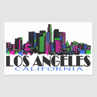 Horizonte del neón de Los Ángeles California Pegatina Rectangular