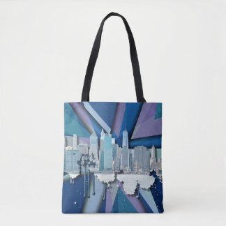 Horizonte el | 3D azul de New York City Bolso De Tela