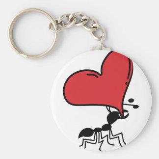 Hormiga grande del corazón, porciones de hormiga d llavero redondo tipo chapa