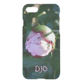 Hormiga roja y negra en el brote de flor rosado funda para iPhone 7