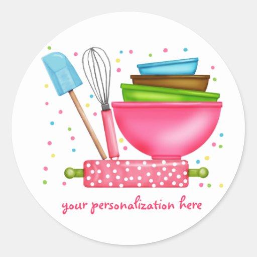 Hornada personalizada que cocina a los pegatinas etiqueta redonda