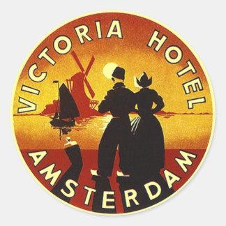 Hotel Amsterdam de los pegatinas VI del equipaje Pegatinas Redondas