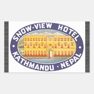 Hotel Katmandu Nepal, vintage de la Nieve-Vista Pegatina Rectangular