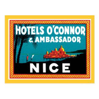 Hotel O'connor y embajador Nice del vintage Tarjetas Postales