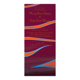 Hotrod anaranjado flamea la invitación del boda invitación 10,1 x 23,5 cm